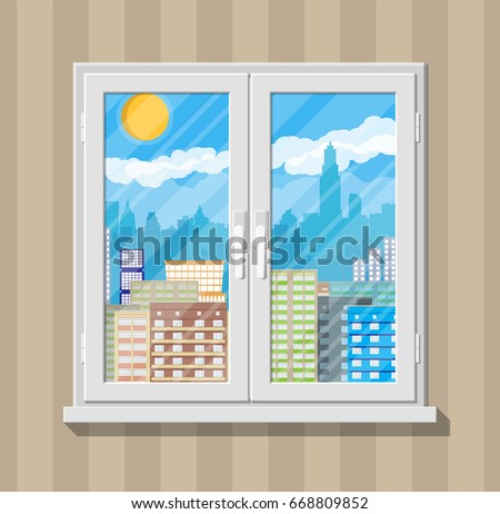 City skyline silhouette at day behind window. Skyscappers, towers, office and residental buildings. Sky, clouds and sun. Vector illustration in flat style #668809852