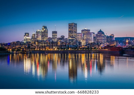 Montreal Downtown View From Across St Lawrence River