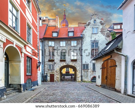 For tourists, medieval architecture of old Riga town can offer unforgettable atmosphere of the Middle Ages and unique Gothic architecture #669086389