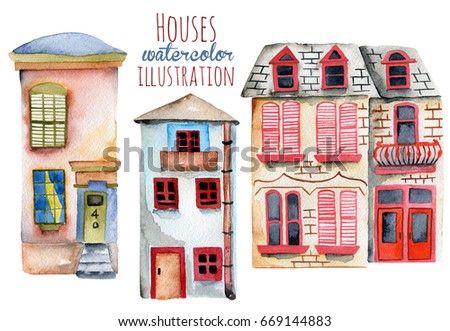 Set of watercolor english houses, hand painted isolated on a white background