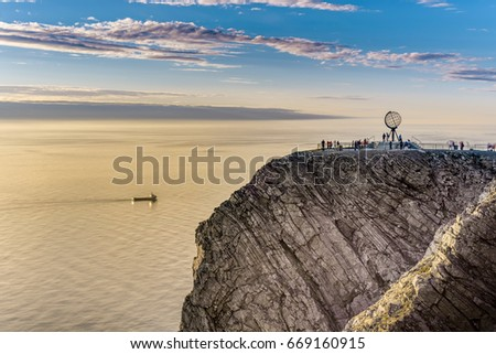 North Cape (Nordkapp), on the northern coast of the island of Mageroya in Finnmark, Northern Norway. #669160915
