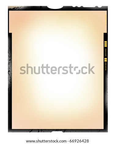 large format film sheet negative, 4x5 inch, picture frame,with free copy space, isolated on white background