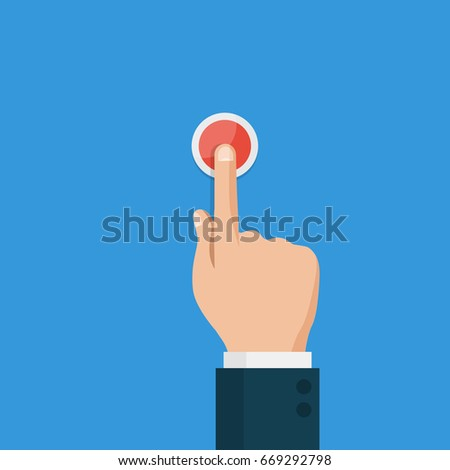 Hand press red button,top view. Flat design style vector illustration #669292798