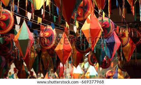 Festivities and colorful decorations for traditional junina south american party. #669377968