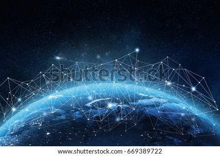 Global network concept. 3D rendering elements of this image furnished by NASA Royalty-Free Stock Photo #669389722