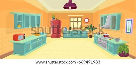 illustration Kitchen / cartoon kitchen Vector Royalty-Free Stock Photo #669491983