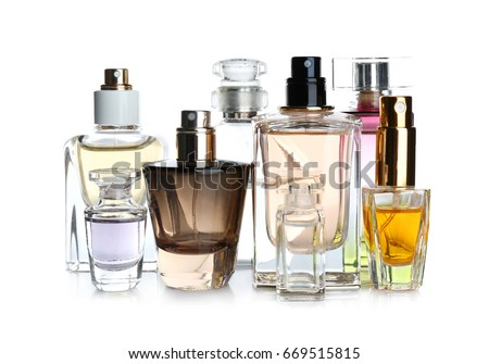 Perfume bottles on white background #669515815