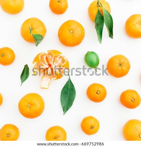 Mandarin. White Background. Flat lay. Top view #669752986