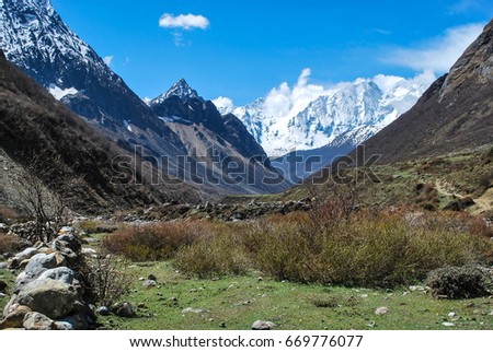 Manaslu mountain circuit trek. Nepal. Himalaya. #669776077