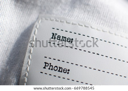 Empty clothing label. #669788545