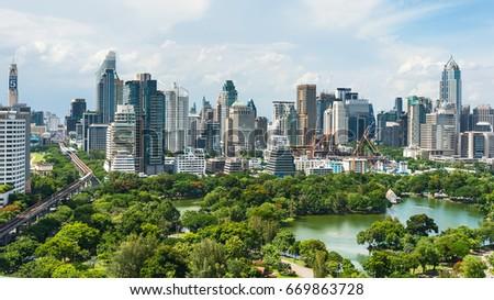 Bangkok Thailand : July 1, 2017 : Beautiful View cityscape at Lumpini park , Thailand. #669863728
