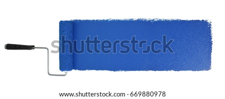 Paint roller with long blue stroke isolated over white - Stitched from two images Royalty-Free Stock Photo #669880978