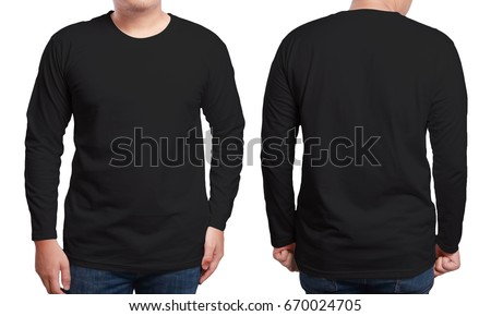 Black long sleeved t-shirt mock up, front and back view, isolated. Male model wear plain black shirt mockup. Long sleeve shirt design template. Blank tees for print #670024705