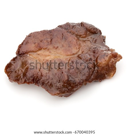 Cooked fried pork meat isolated on white background cutout #670040395