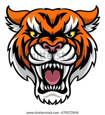 An angry looking tiger mascot animal character