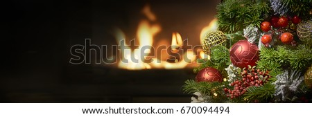 Beautiful decorated fireplace and Christmas tree  #670094494