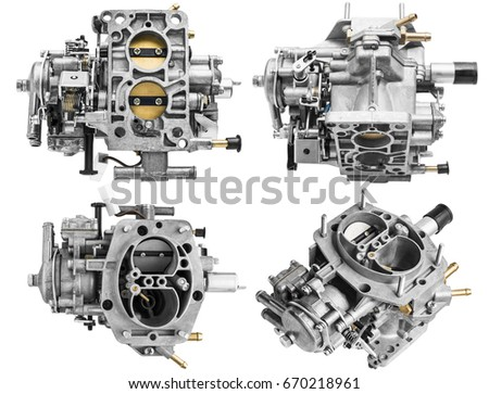 Car carburetor in different positions on a white background with shallow depth of field #670218961
