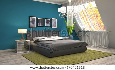 Bedroom interior. 3d illustration #670421518