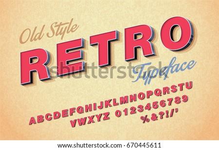 Vector 3d oblique retro font, alphabet 80s, 90s.