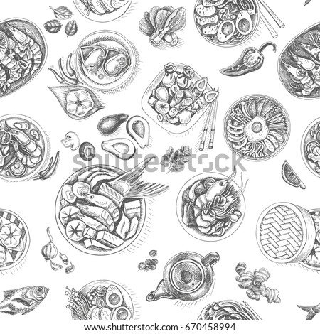 Vector illustration sketch - asian food. Card pattern japan. vintage design template, banner. #670458994