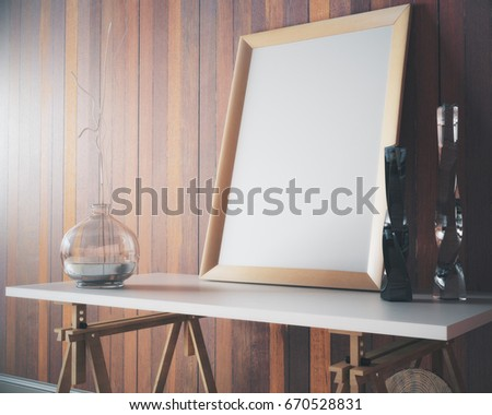 Side view and closeup of empty rectangular banner placed on wooden decorative table with vases in interior with plank wall. Mock up, 3D Rendering #670528831