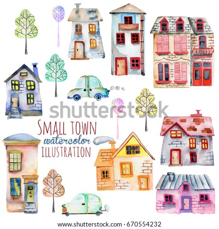 Set of the cute cartoon watercolor english houses, cars and trees, hand painted  on a white background