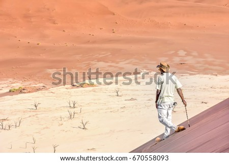 A local guide walking on the famous sand dunes in the Namib-Naukluft park area in Namibia Southern Africa #670558093