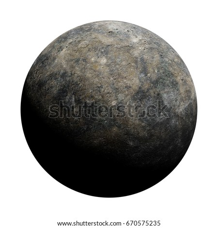 planet Mercury isolated on white background (3d render, elements of this image are furnished by NASA)