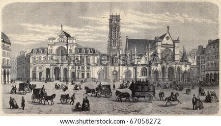 """Antique illustration of Place du Louvre, with Mairie du 1er arrondissement, the belfry and Saint Germain l'Auxerrois. By Fichot. Published on """"L'Illustration, Journal Universel"""", Paris, 1860"""
