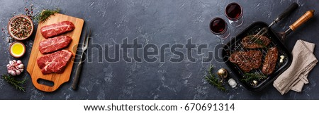 Raw fresh meat Top Blade steaks on wood cutting board and Grilled meat Top Blade steaks on frying pan on dark background copy space Royalty-Free Stock Photo #670691314