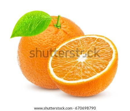 Orange isolated. One whole orange fruit and half isolated on white background #670698790
