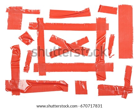 Red duct repair tape isolated on white background #670717831