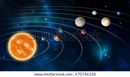 Solar system model, Elements of this image furnished by NASA. #670766320