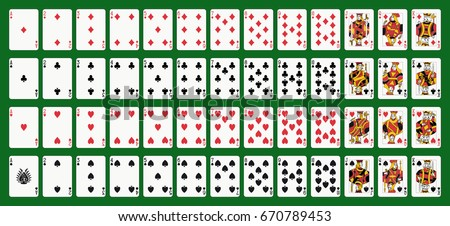 Poker playing cards, full deck. Green background in a separate layer Royalty-Free Stock Photo #670789453