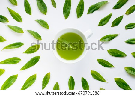 Healthy Light Green Tea Cup with Fresh Green Leaves Flat Lay #670791586
