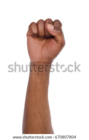 Male black fist isolated on white background. African american clenched hand, gesturing up. Counting, aggression, brave, masculinity concept #670807804