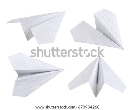 Set of paper planes. Isolated on white background