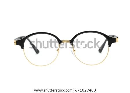Modern fashionable spectacles isolated on white background, Perfect reflection, Glasses #671029480