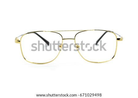 Modern fashionable spectacles isolated on white background, Perfect reflection, Glasses #671029498