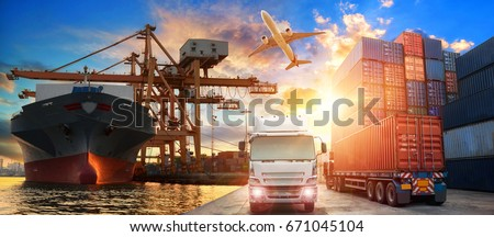 Logistics and transportation of Container Cargo ship and Cargo plane with working crane bridge in shipyard at sunrise, logistic import export and transport industry background #671045104