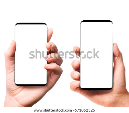 Bezel-less smartphones with blank screens in male and female hands isolated on white background #671052325