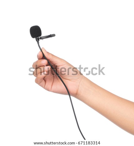 hand holding Microphone lapel or lavalier isolated on white background