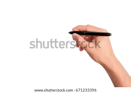 Man's hand holding pen and writing on virtual screen isolated on white background #671233396