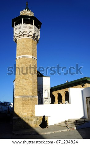Minaret of Youssef Dey in Tunis Medina, an Ottoman Turkish style mosque #671234824