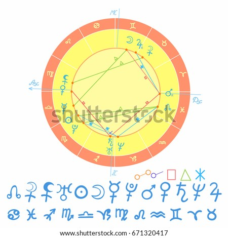 natal astrological chart, zodiac sign. vector illustration #671320417