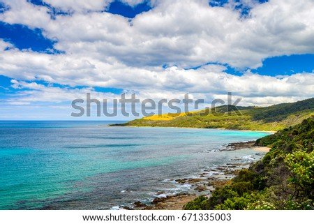 Scenic coastal landscape along the Great Ocean road in Lorne, Victoria, Australia #671335003