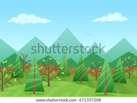 The peaceful green landscape with mountains and plants  illustration. #671337208