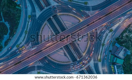 Aerial view interchange of city, Expressway, Motorway, Highway is an important infrastructure. #671362036