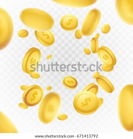 Realistic Casino golden coins explosion background. Isolated fortune rain on transparent layout. Jackpot lottery glory concept. Vector illustration #671413792