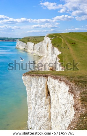 Beautiful Coastline of The Seven Sister Chalk Cliff, East Sussex, Eastbourne , England, United Kingdom #671459965
